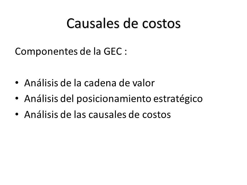 Causales de costos Componentes de la GEC : Análisis de la cadena de valor Análisis del posicionamiento estratégico Análisis de las causales de costos