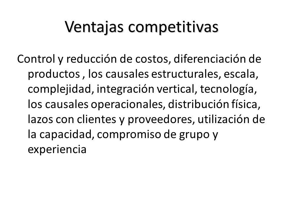 Ventajas competitivas Control y reducción de costos, diferenciación de productos, los causales estructurales, escala, complejidad, integración vertica