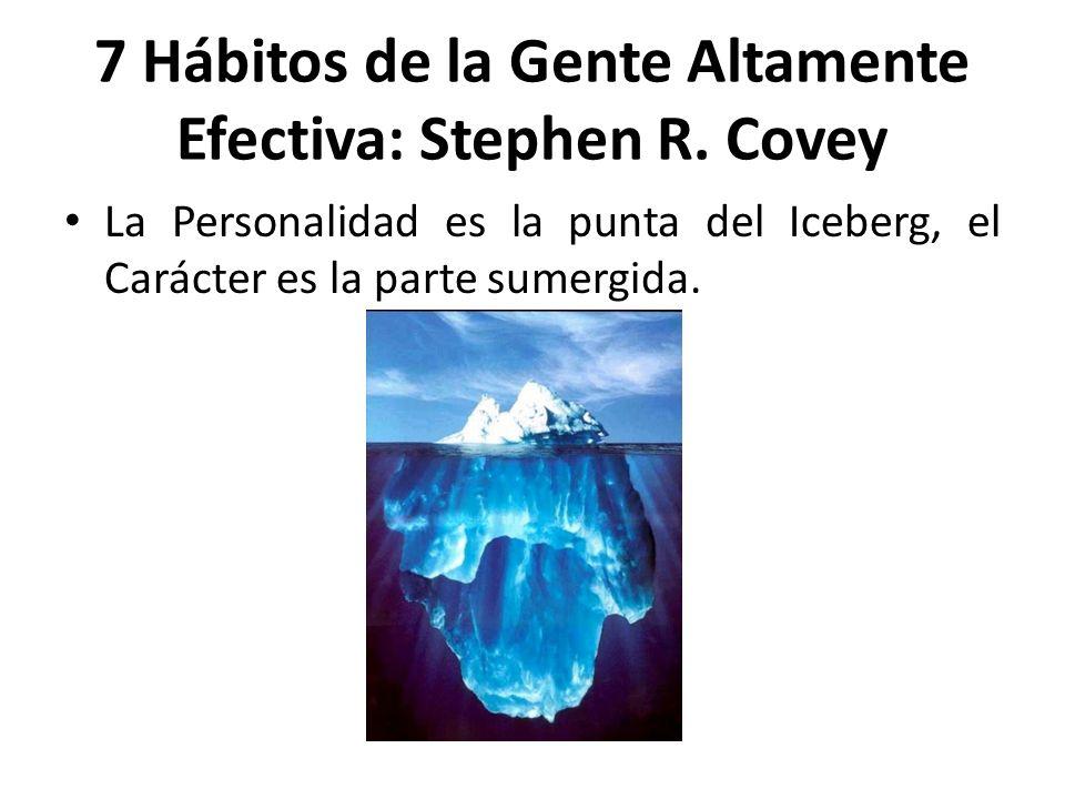 La Personalidad es la punta del Iceberg, el Carácter es la parte sumergida. 7 Hábitos de la Gente Altamente Efectiva: Stephen R. Covey