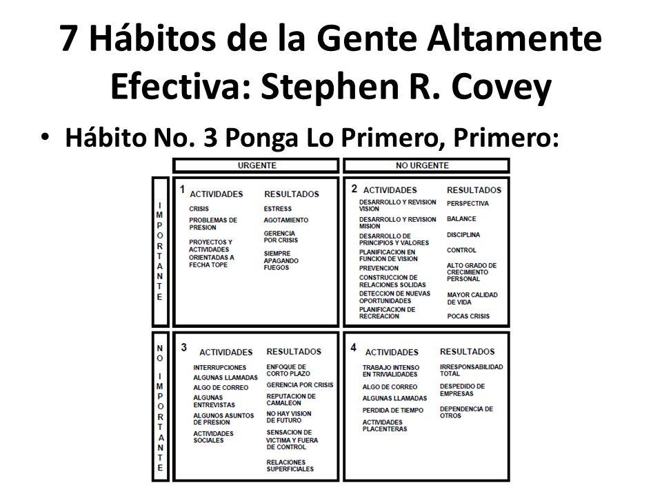 Hábito No. 3 Ponga Lo Primero, Primero: 7 Hábitos de la Gente Altamente Efectiva: Stephen R. Covey