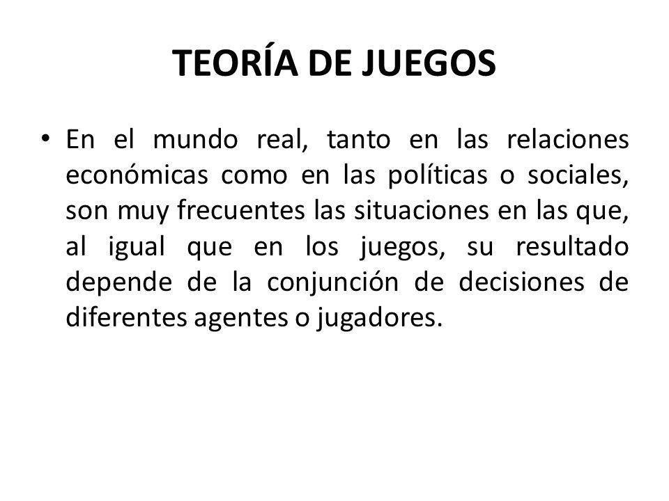 En el mundo real, tanto en las relaciones económicas como en las políticas o sociales, son muy frecuentes las situaciones en las que, al igual que en