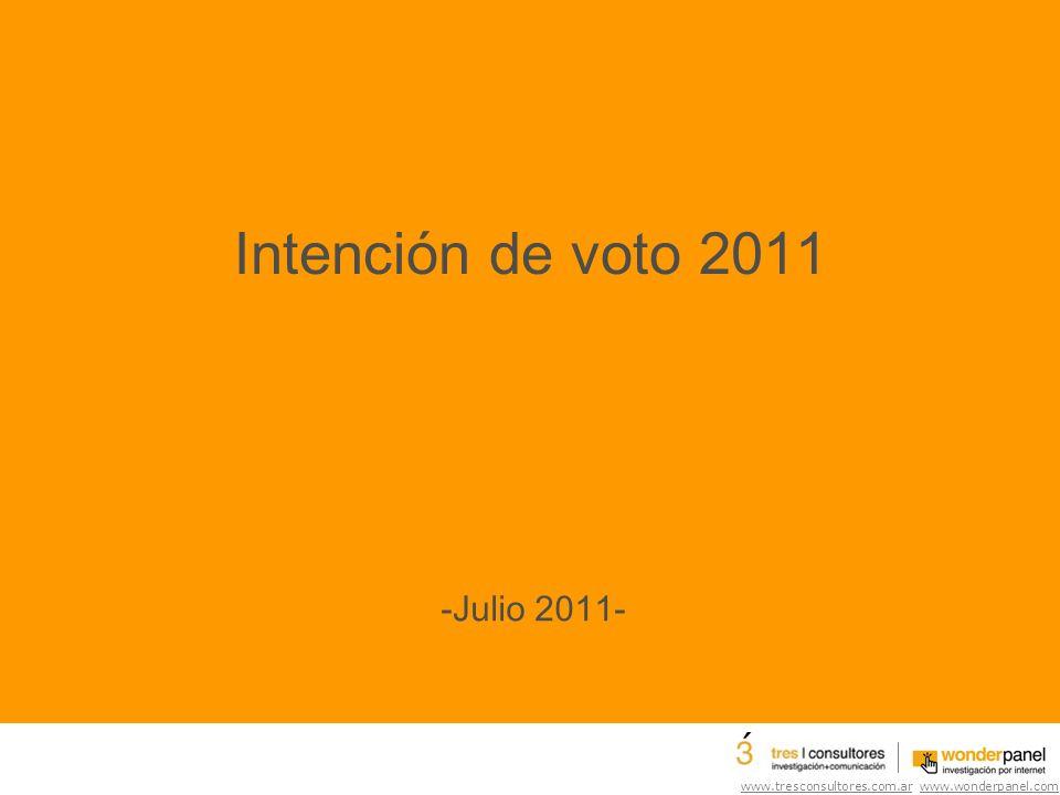 www.tresconsultores.com.ar www.wonderpanel.com Intención de voto 2011 -Julio 2011-