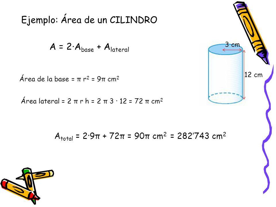 3 cm 12 cm Ejemplo: Área de un CILINDRO A = 2·A base + A lateral Área de la base = π r 2 = 9π cm 2 Área lateral = 2 π r h = 2 π 3 · 12 = 72 π cm 2 A t