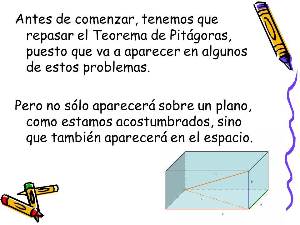 Antes de comenzar, tenemos que repasar el Teorema de Pitágoras, puesto que va a aparecer en algunos de estos problemas. Pero no sólo aparecerá sobre u