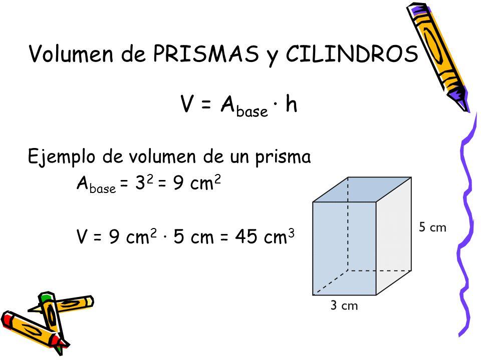 Volumen de PRISMAS y CILINDROS V = A base · h Ejemplo de volumen de un prisma A base = 3 2 = 9 cm 2 V = 9 cm 2 · 5 cm = 45 cm 3
