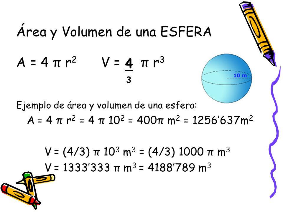 Área y Volumen de una ESFERA A = 4 π r 2 V = π r 3 Ejemplo de área y volumen de una esfera: A = 4 π r 2 = 4 π 10 2 = 400π m 2 = 1256637m 2 V = (4/3) π