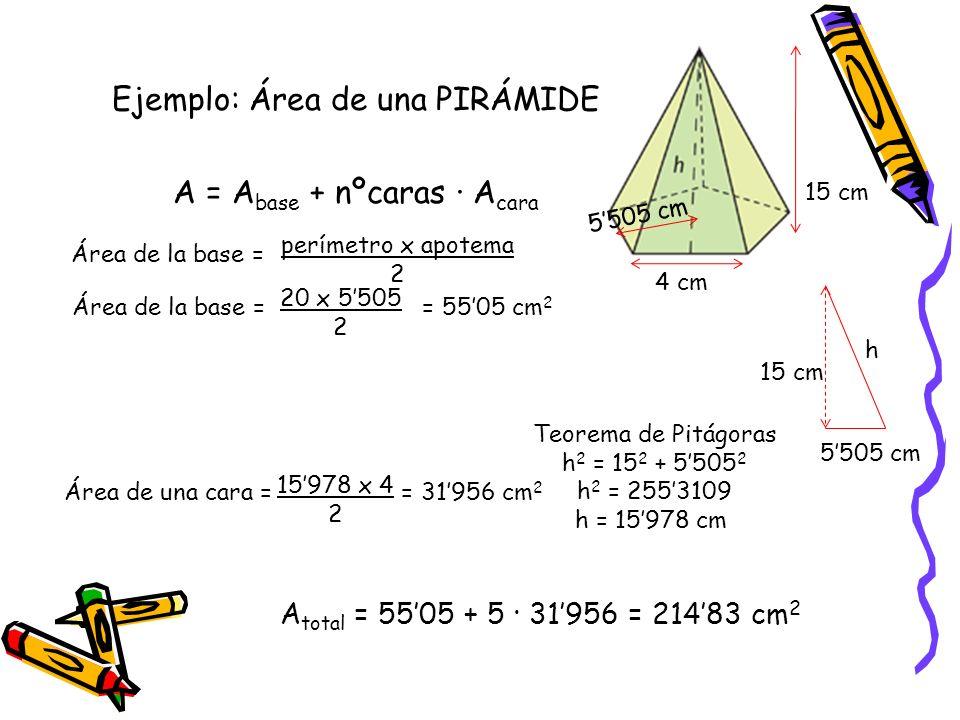 Área de un TRONCO DE PIRÁMIDE A = A base mayor + A base menor + nºcaras· A cara Nota: En este caso, tampoco la altura de la pirámide coincide con la altura de los triángulos que forman las caras.