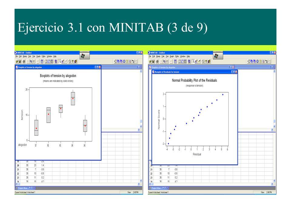 Ejercicio 3.1 con MINITAB (3 de 9)