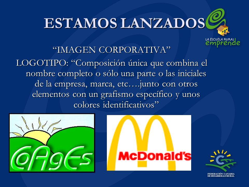 ESTAMOS LANZADOS IMAGEN CORPORATIVA LOGOTIPO: Composición única que combina el nombre completo o sólo una parte o las iniciales de la empresa, marca,