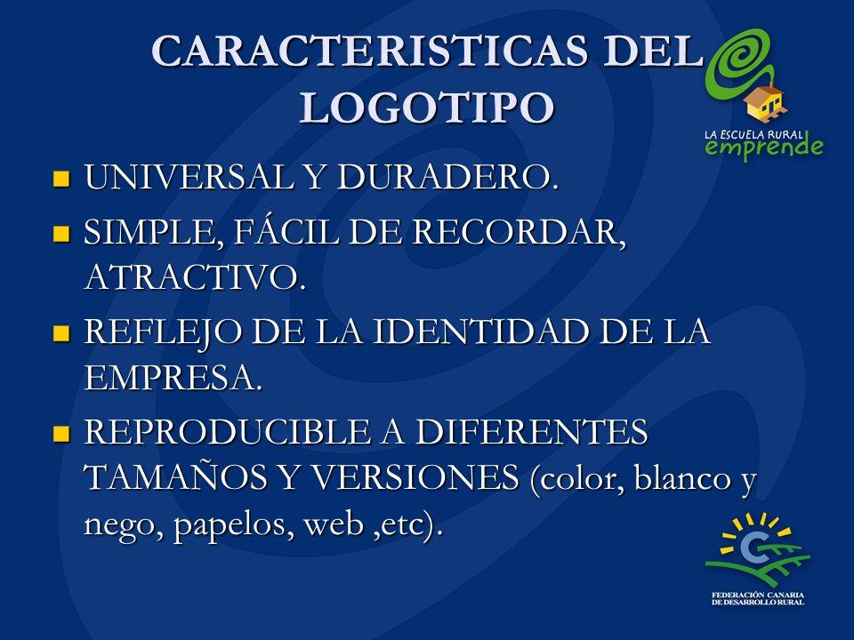 CARACTERISTICAS DEL LOGOTIPO UNIVERSAL Y DURADERO. UNIVERSAL Y DURADERO. SIMPLE, FÁCIL DE RECORDAR, ATRACTIVO. SIMPLE, FÁCIL DE RECORDAR, ATRACTIVO. R