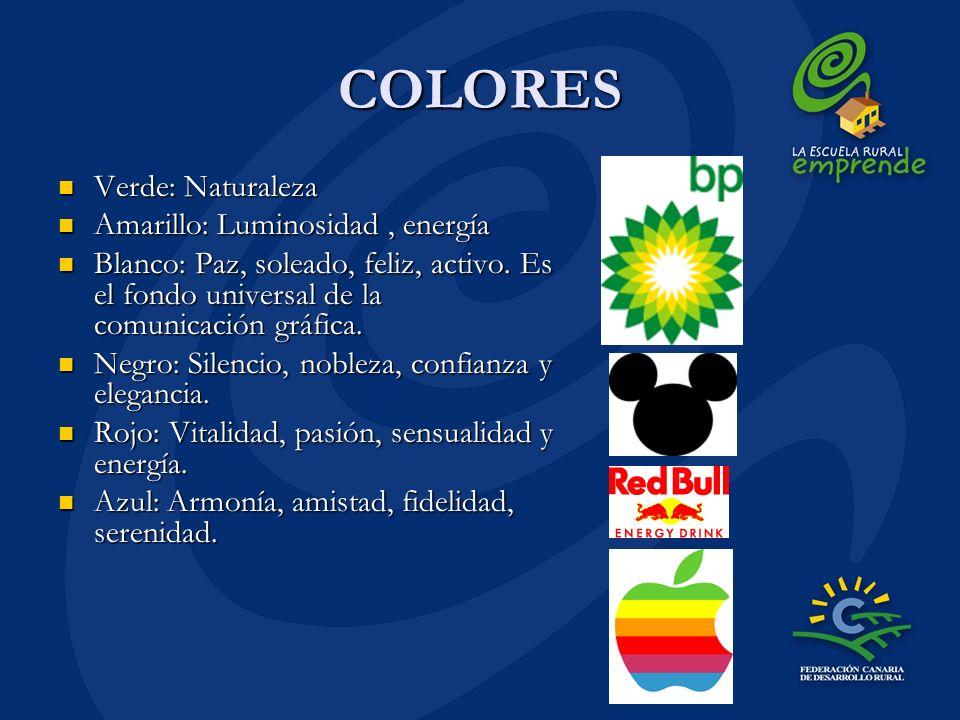 COLORES Verde: Naturaleza Verde: Naturaleza Amarillo: Luminosidad, energía Amarillo: Luminosidad, energía Blanco: Paz, soleado, feliz, activo. Es el f