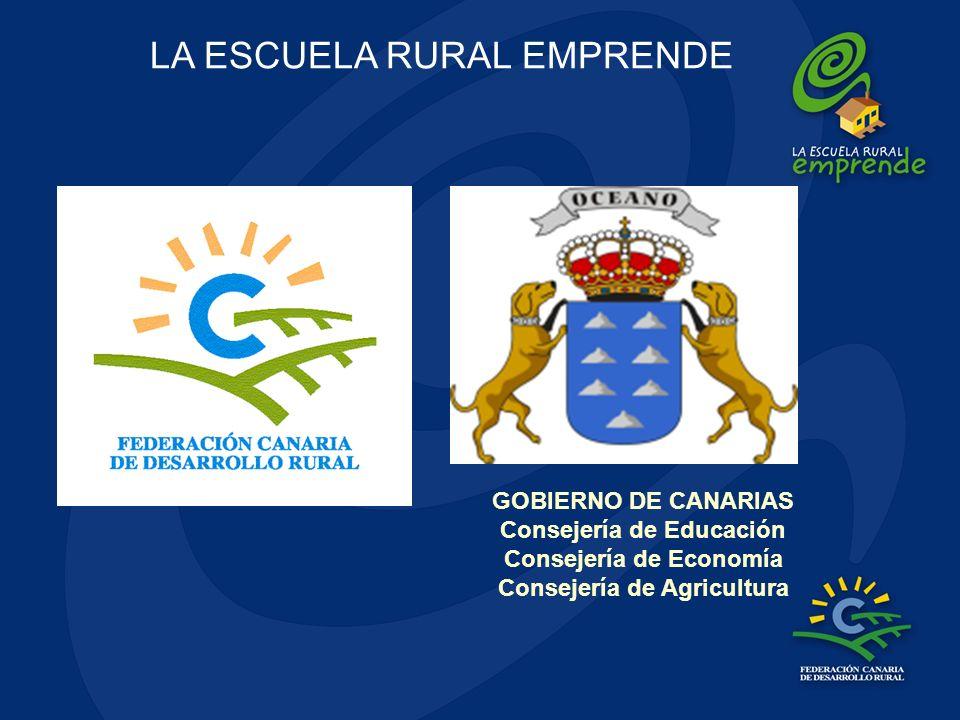 GOBIERNO DE CANARIAS Consejería de Educación Consejería de Economía Consejería de Agricultura LA ESCUELA RURAL EMPRENDE