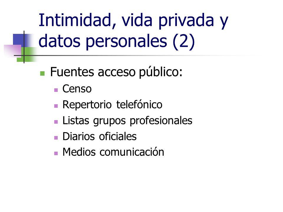 Intimidad, vida privada y datos personales (2) Fuentes acceso público: Censo Repertorio telefónico Listas grupos profesionales Diarios oficiales Medio