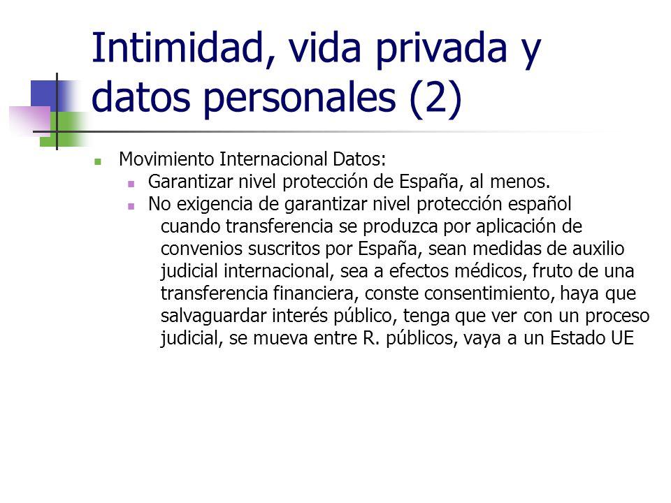 Intimidad, vida privada y datos personales (2) Movimiento Internacional Datos: Garantizar nivel protección de España, al menos. No exigencia de garant