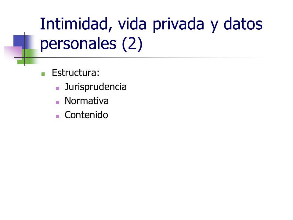 Intimidad, vida privada y datos personales (2) Estructura: Jurisprudencia Normativa Contenido
