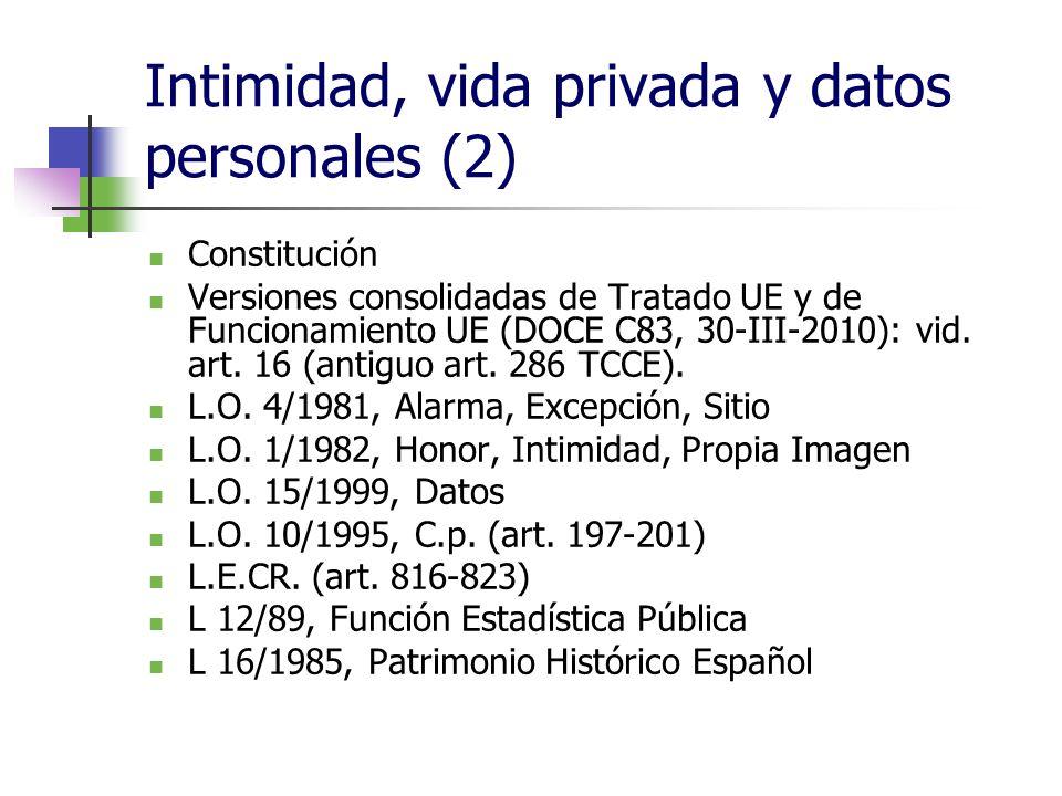 Intimidad, vida privada y datos personales (2) Constitución Versiones consolidadas de Tratado UE y de Funcionamiento UE (DOCE C83, 30-III-2010): vid.