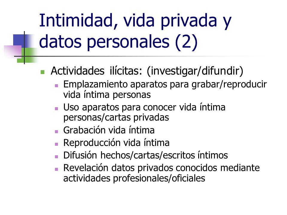 Intimidad, vida privada y datos personales (2) Actividades ilícitas: (investigar/difundir) Emplazamiento aparatos para grabar/reproducir vida íntima p