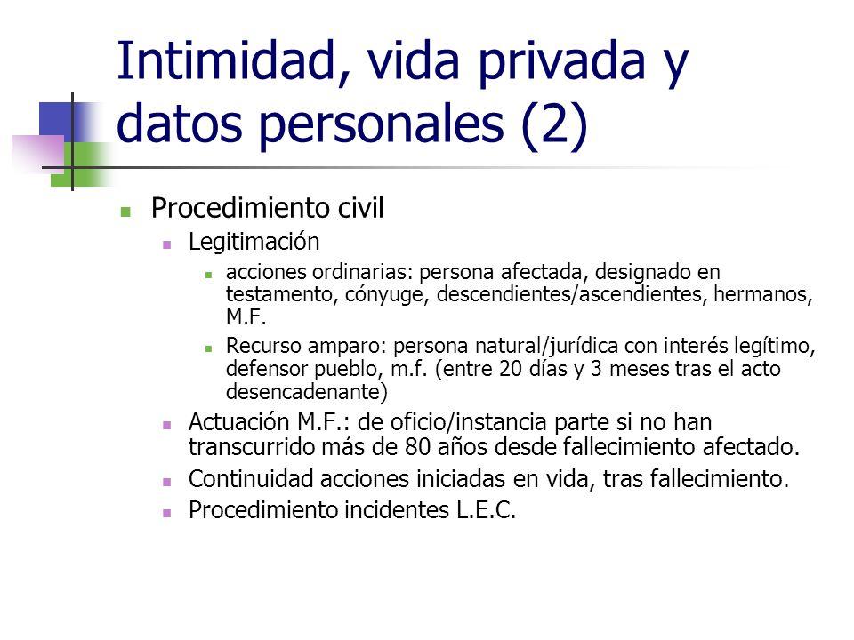 Intimidad, vida privada y datos personales (2) Procedimiento civil Legitimación acciones ordinarias: persona afectada, designado en testamento, cónyug