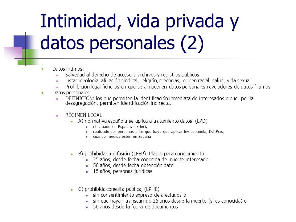 Intimidad, vida privada y datos personales (2) Datos íntimos: Salvedad al derecho de acceso a archivos y registros públicos Lista: ideología, afiliaci