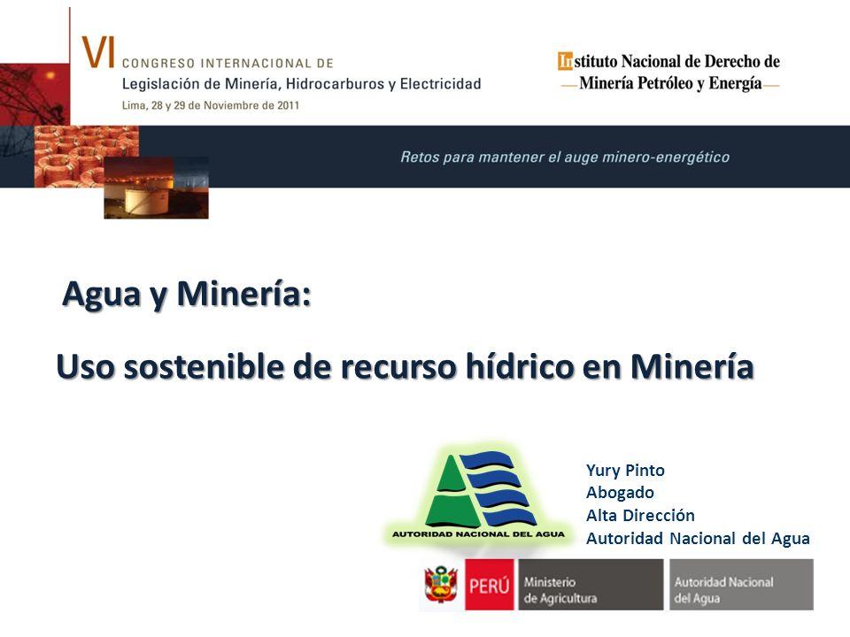 Uso sostenible de recurso hídrico en Minería Agua y Minería: Yury Pinto Abogado Alta Dirección Autoridad Nacional del Agua