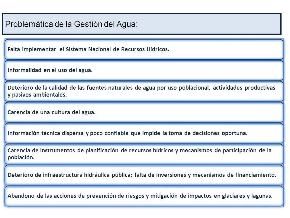 Ente rector y máxima autoridad técnico normativa de los recursos hídricos en el Perú AVANCES Implementación Ley Nº 29338 : Aprobación del Reglamento de la Ley de Recursos Hídricos y reglamentos específicos.