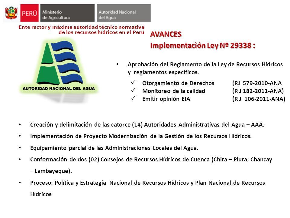 Ente rector y máxima autoridad técnico normativa de los recursos hídricos en el Perú AVANCES Implementación Ley Nº 29338 : Aprobación del Reglamento d