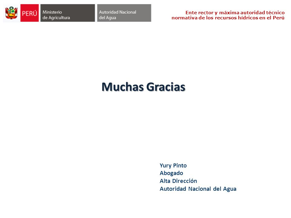 Muchas Gracias Yury Pinto Abogado Alta Dirección Autoridad Nacional del Agua Ente rector y máxima autoridad técnico normativa de los recursos hídricos