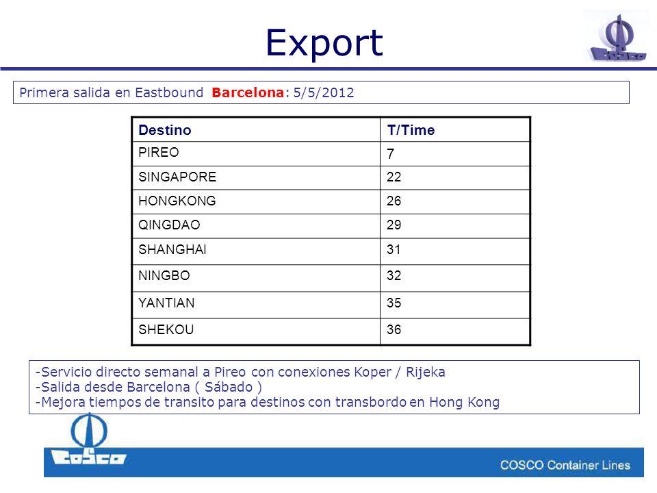 Export Primera salida en Eastbound Barcelona: 5/5/2012 DestinoT/Time PIREO 7 SINGAPORE22 HONGKONG26 QINGDAO29 SHANGHAI31 NINGBO32 YANTIAN35 SHEKOU36 -Servicio directo semanal a Pireo con conexiones Koper / Rijeka -Salida desde Barcelona ( Sábado ) -Mejora tiempos de transito para destinos con transbordo en Hong Kong