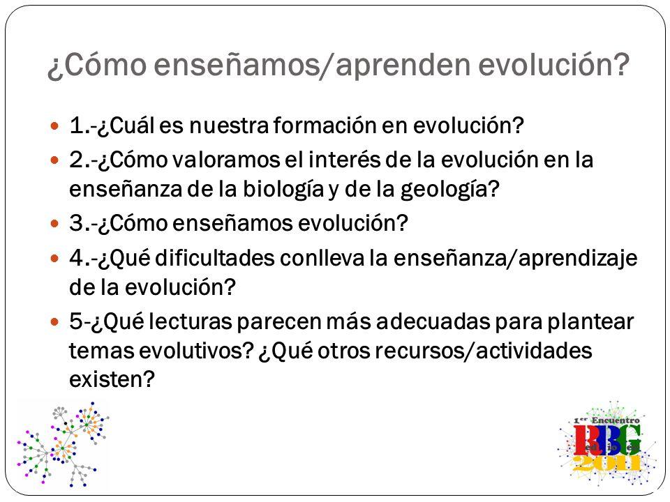 1.-¿Cuál es nuestra formación en evolución? 2.-¿Cómo valoramos el interés de la evolución en la enseñanza de la biología y de la geología? 3.-¿Cómo en