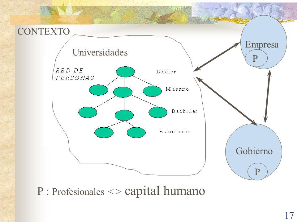 17 Empresa Gobierno Universidades P P P CONTEXTO P : Profesionales capital humano