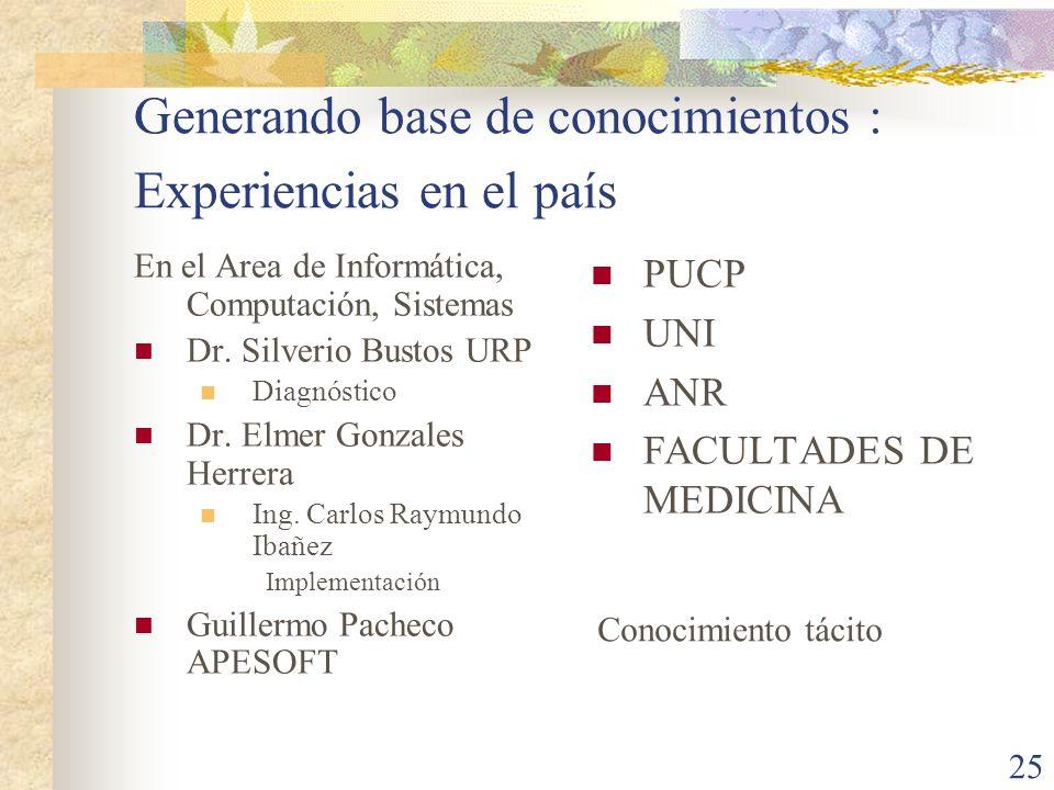 25 Generando base de conocimientos : Experiencias en el país En el Area de Informática, Computación, Sistemas Dr. Silverio Bustos URP Diagnóstico Dr.