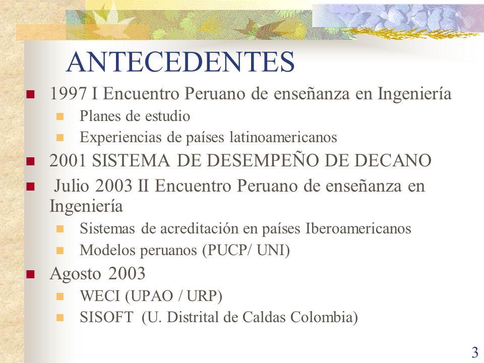 3 ANTECEDENTES 1997 I Encuentro Peruano de enseñanza en Ingeniería Planes de estudio Experiencias de países latinoamericanos 2001 SISTEMA DE DESEMPEÑO