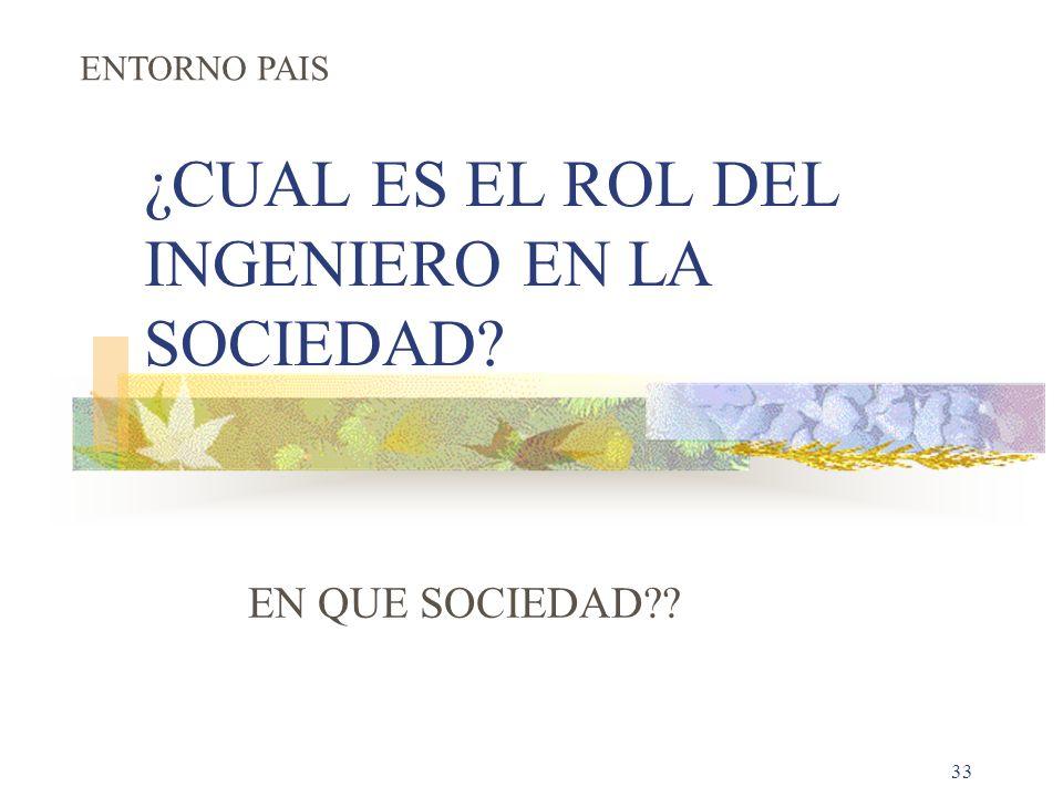 33 ¿CUAL ES EL ROL DEL INGENIERO EN LA SOCIEDAD? EN QUE SOCIEDAD?? ENTORNO PAIS
