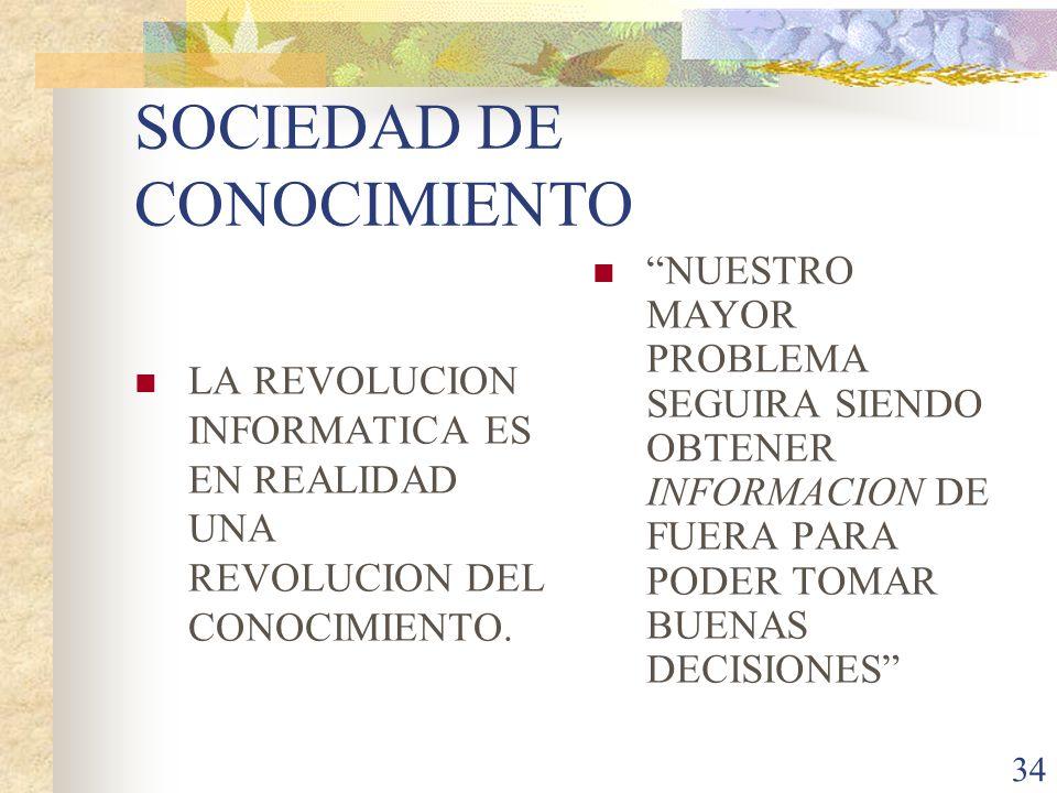 34 SOCIEDAD DE CONOCIMIENTO LA REVOLUCION INFORMATICA ES EN REALIDAD UNA REVOLUCION DEL CONOCIMIENTO. NUESTRO MAYOR PROBLEMA SEGUIRA SIENDO OBTENER IN