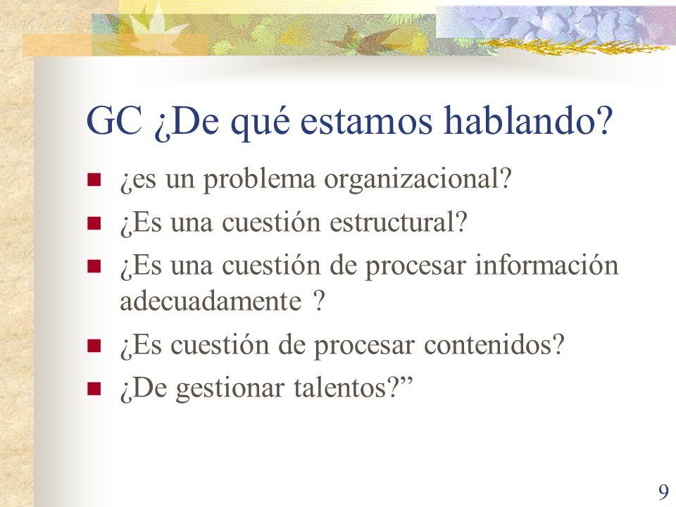 9 GC ¿De qué estamos hablando? ¿es un problema organizacional? ¿Es una cuestión estructural? ¿Es una cuestión de procesar información adecuadamente ?