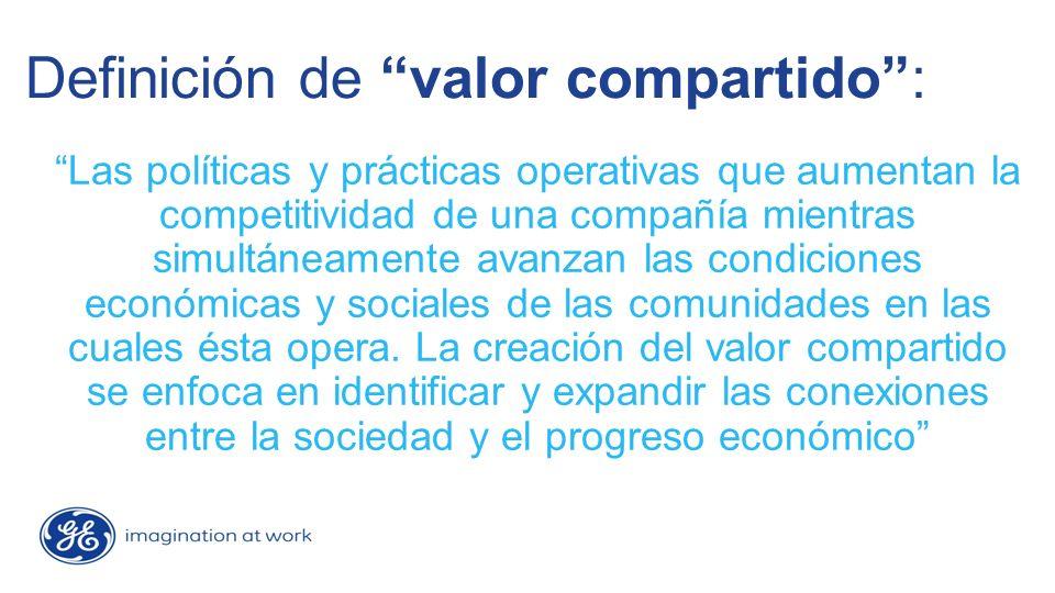 Definición de valor compartido: Las políticas y prácticas operativas que aumentan la competitividad de una compañía mientras simultáneamente avanzan las condiciones económicas y sociales de las comunidades en las cuales ésta opera.