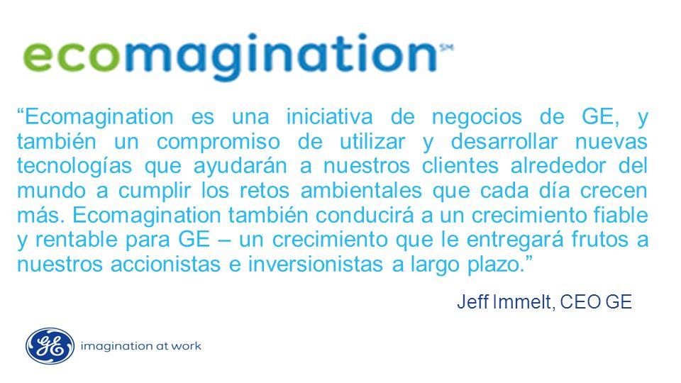 Ecomagination es una iniciativa de negocios de GE, y también un compromiso de utilizar y desarrollar nuevas tecnologías que ayudarán a nuestros clientes alrededor del mundo a cumplir los retos ambientales que cada día crecen más.