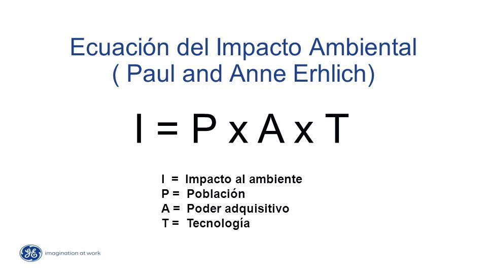 Ecuación del Impacto Ambiental ( Paul and Anne Erhlich) I = P x A x T I = Impacto al ambiente P = Población A = Poder adquisitivo T = Tecnología
