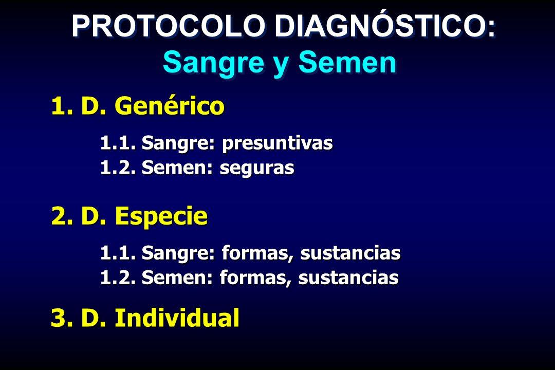 1. D. Genérico 1.1. Sangre: presuntivas 1.2. Semen: seguras PROTOCOLO DIAGNÓSTICO: Sangre y Semen 2. D. Especie 1.1. Sangre: formas, sustancias 1.2. S