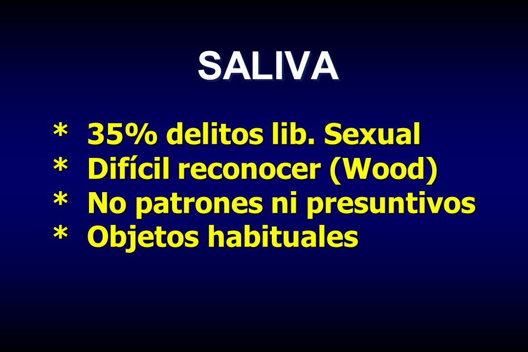 * 35% delitos lib. Sexual * Difícil reconocer (Wood) * No patrones ni presuntivos * Objetos habituales SALIVA