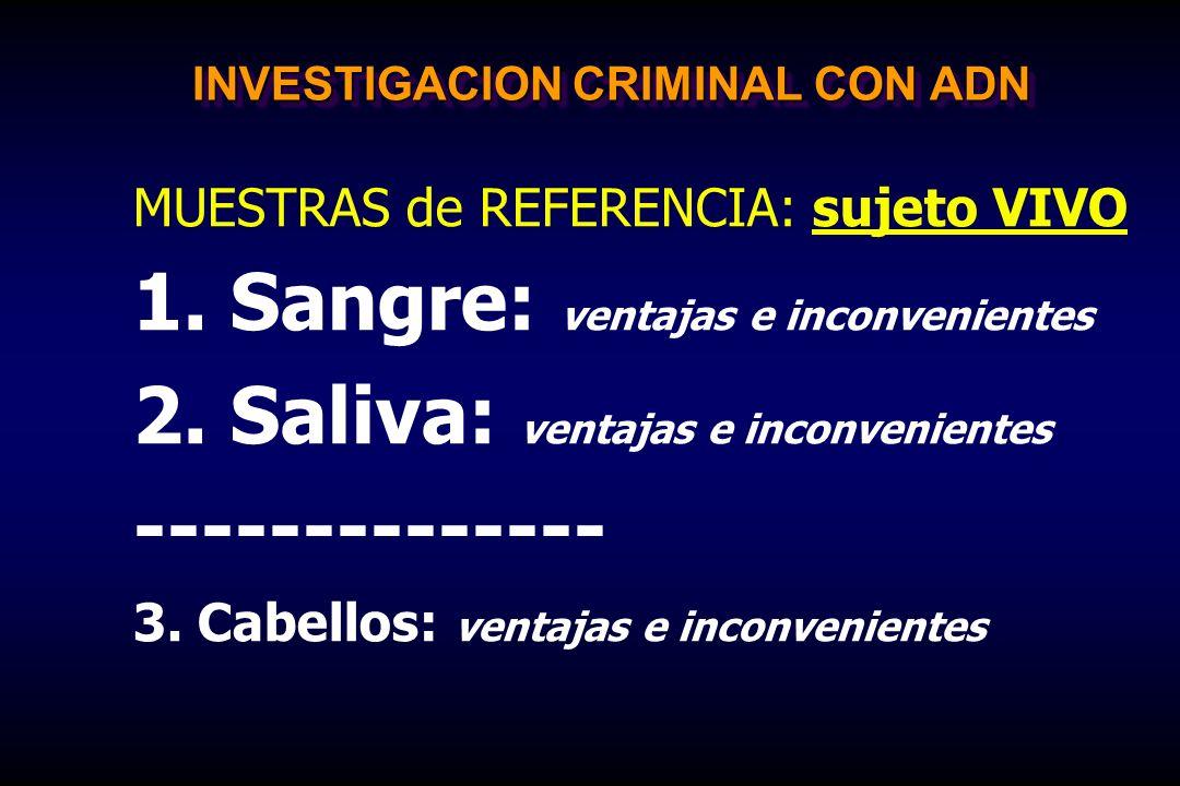 INVESTIGACION CRIMINAL CON ADN MUESTRAS de REFERENCIA: sujeto VIVO 1. Sangre: ventajas e inconvenientes 2. Saliva: ventajas e inconvenientes ---------