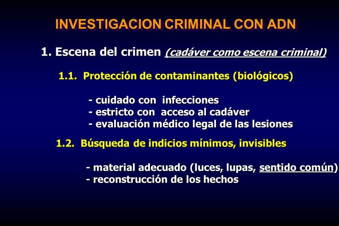 INVESTIGACION CRIMINAL CON ADN 1.1. Protección de contaminantes (biológicos) - cuidado con infecciones - estricto con acceso al cadáver - evaluación m