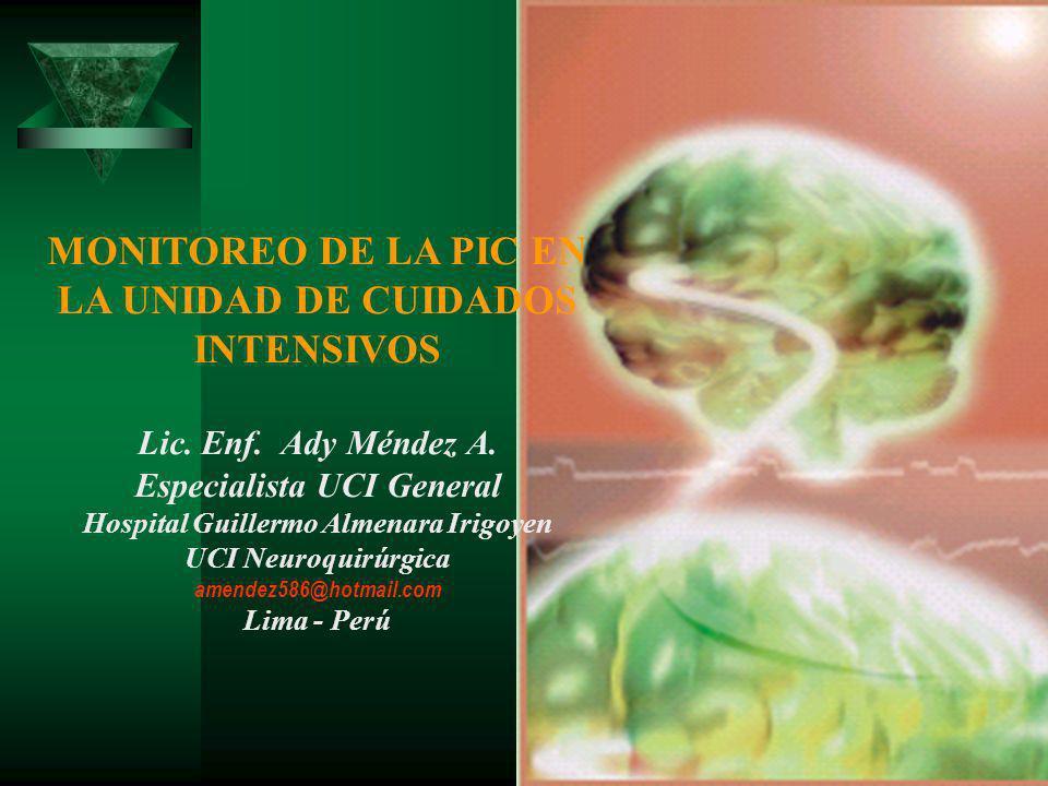 MONITOREO DE LA PIC EN LA UNIDAD DE CUIDADOS INTENSIVOS Lic. Enf. Ady Méndez A. Especialista UCI General Hospital Guillermo Almenara Irigoyen UCI Neur