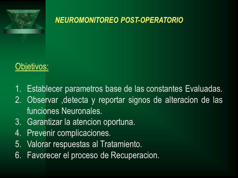 NEUROMONITOREO POST-OPERATORIO Objetivos: 1.Establecer parametros base de las constantes Evaluadas. 2.Observar,detecta y reportar signos de alteracion