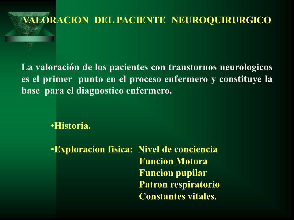 VALORACION DEL PACIENTE NEUROQUIRURGICO La valoración de los pacientes con transtornos neurologicos es el primer punto en el proceso enfermero y constituye la base para el diagnostico enfermero.