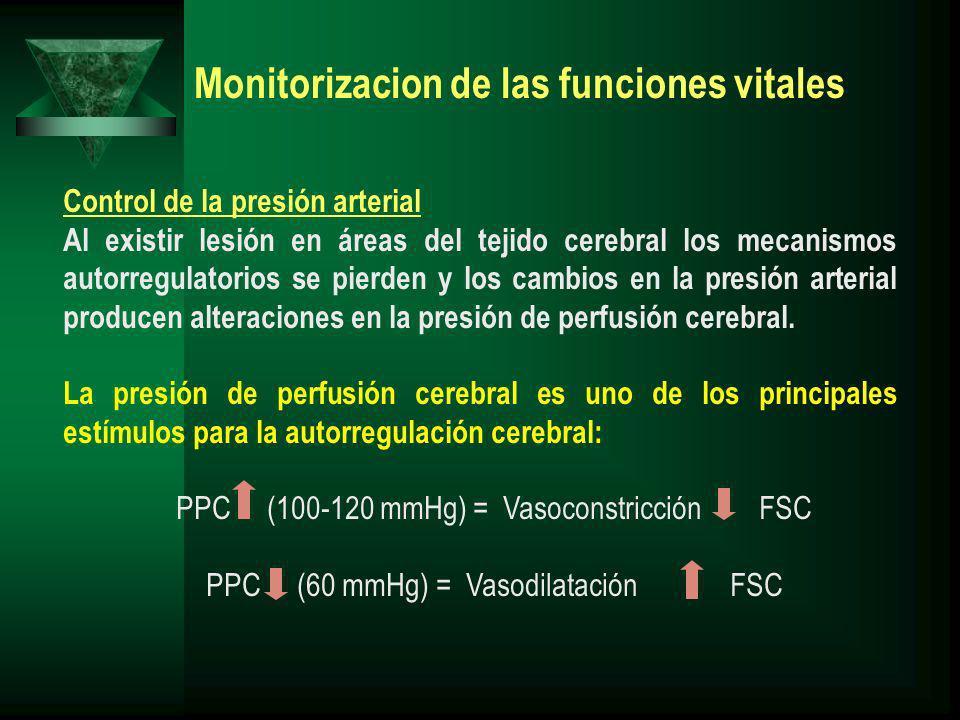 Monitorizacion de las funciones vitales Control de la presión arterial Al existir lesión en áreas del tejido cerebral los mecanismos autorregulatorios se pierden y los cambios en la presión arterial producen alteraciones en la presión de perfusión cerebral.