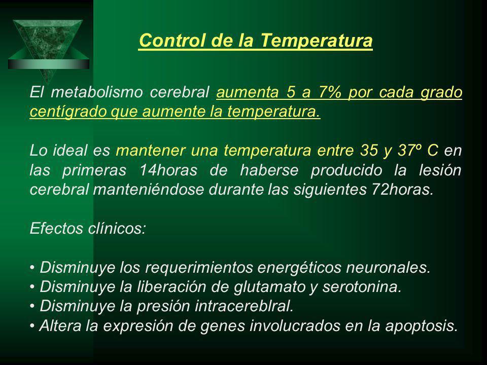 El metabolismo cerebral aumenta 5 a 7% por cada grado centígrado que aumente la temperatura. Lo ideal es mantener una temperatura entre 35 y 37º C en