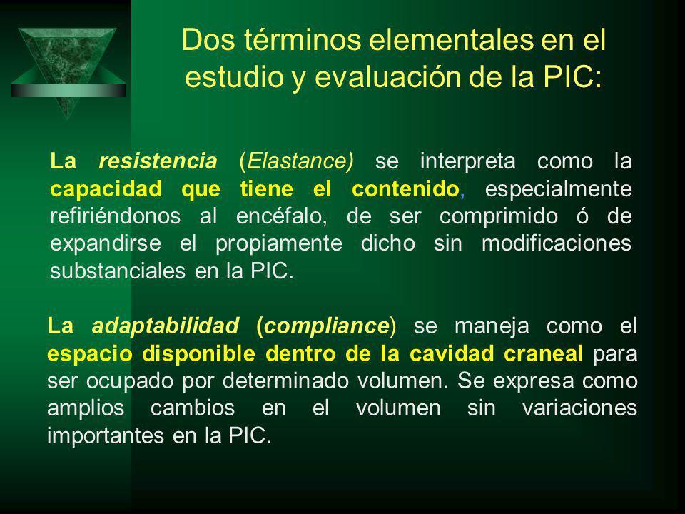 La resistencia (Elastance) se interpreta como la capacidad que tiene el contenido, especialmente refiriéndonos al encéfalo, de ser comprimido ó de expandirse el propiamente dicho sin modificaciones substanciales en la PIC.