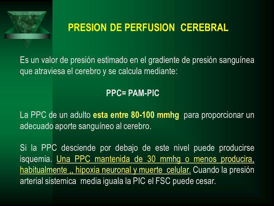 PRESION DE PERFUSION CEREBRAL Es un valor de presión estimado en el gradiente de presión sanguínea que atraviesa el cerebro y se calcula mediante: PPC= PAM-PIC La PPC de un adulto esta entre 80-100 mmhg para proporcionar un adecuado aporte sanguíneo al cerebro.