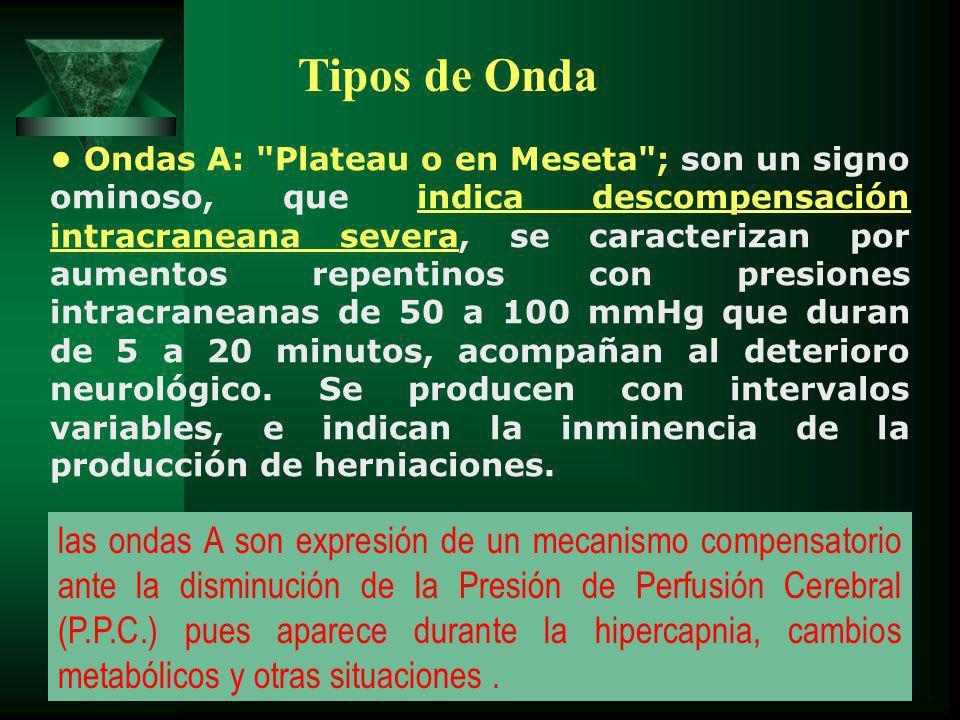 Ondas A: Plateau o en Meseta ; son un signo ominoso, que indica descompensación intracraneana severa, se caracterizan por aumentos repentinos con presiones intracraneanas de 50 a 100 mmHg que duran de 5 a 20 minutos, acompañan al deterioro neurológico.